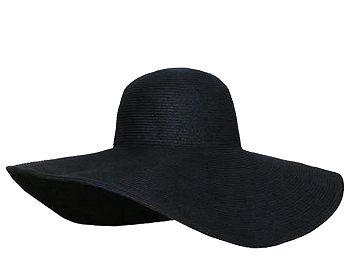 be191bccc41 Wowlife Wide Brim Roll-up Big Beautiful Solid Color Floppy Hat (Black)