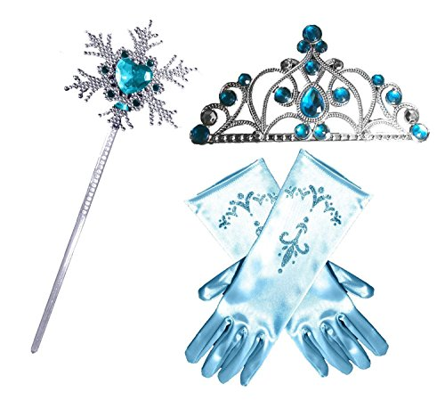 Princess Dress up Party Accessories - 3 Piece Set: Gloves, Tiara and Wand (Snowflake Design) (Frozen Gloves)