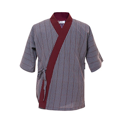 ChefsUniforms Sushi Chef Coat Japanese Restaurant Uniforms Jacket US Size:S (Tag:L), Purple Stripped