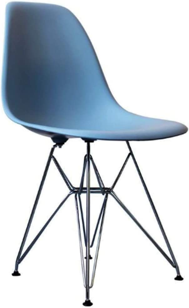Funky Boutique Dining Plastic Chair Retro with Metal Legs for Office Lounge Kitchen Bedroom DS-M (White,Metal Legs) Blue