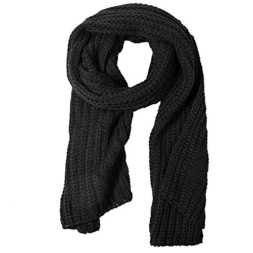 Knit Cable Scarf Long (Women And Mens Winter Thick Cable Knit Wrap Chunky Long Warm Scarf, One Size, Black)