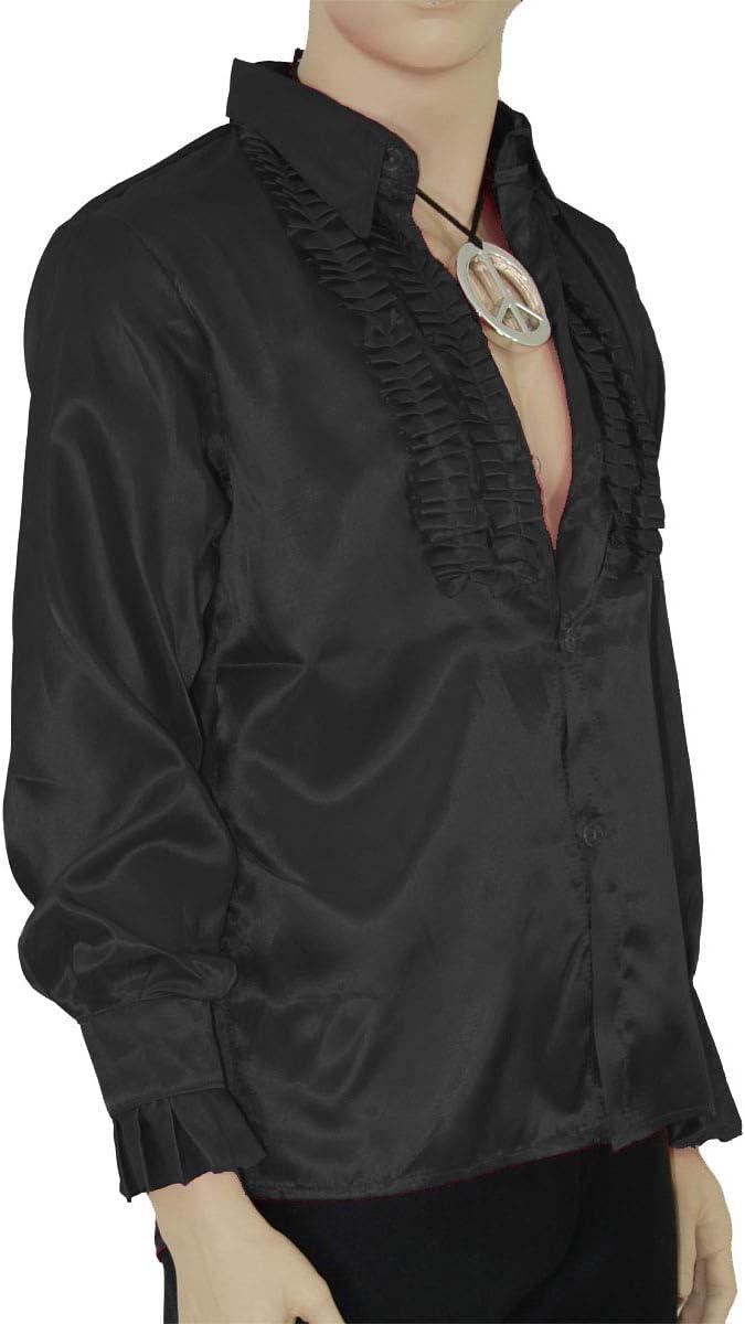 Foxxeo Camisa de Volantes Negros para Hombres Camisa Disco Schlager Star Negro para Disfraz de Fiesta de Carnaval, Talla: M: Amazon.es: Juguetes y juegos
