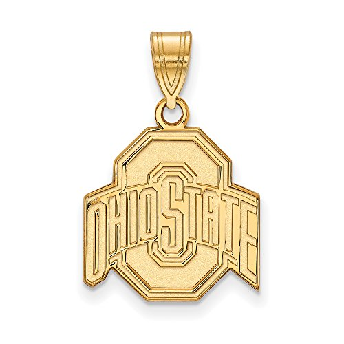 Ohio State Medium (5/8 Inch) Pendant (10k Yellow Gold) by LogoArt