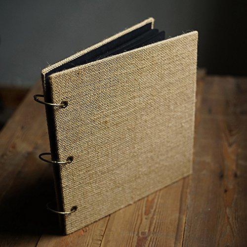 Cardboard 3 Ring Binder (DEBON Multi-purpose Retro Burlap Photo Album DIY Manual Scrapbook (Square))