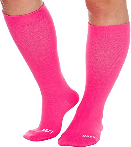Plain Jane Wide Calf Compression Socks - Graduated 15-25 mmHg Knee High Plus Size Support Stockings by LISH (Hot Pink, -