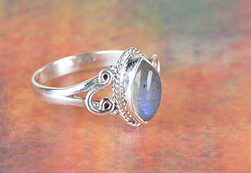 Labradorite Ring, 925 Sterling Silver, Blue Flash Labradorite Ring, Minimalist Ring, Dainty Ring, Tribal Ring, Jewellery, One Of A kind, Ocean Ring, Ethnic Ring, Festival Ring, Boho, US All Size Ring by Handmadejewelry
