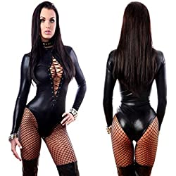 Women Sexy Black Lingerie Bodysuits Erotic Leotard Catwomen Costume (XL)