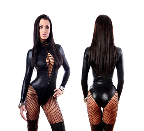 Women Sexy Black Lingerie Bodysuits Erotic Leotard Catwomen Costume (L)