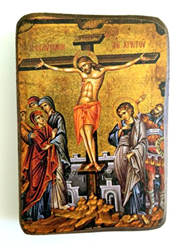 Wooden Greek Christian Orthodox Wood Icon of The Crucifixion / A0
