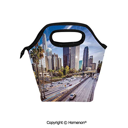 Insulated Neoprene Soft Lunch Bag Tote Handbag lunchbox,3d prited with Downtown Cityscape of Los Angeles California USA Avenue Buildings Palms,For School work Office Kids Lunch Box & Food Container]()