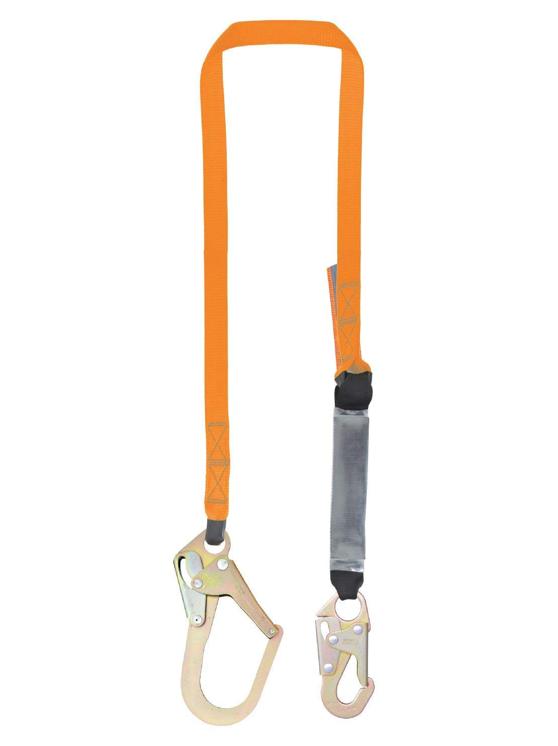 6 Foot Single Leg External Shock Absorbing Lanyard with 1 Peri Form Hook and 1 Steel Snap Hook, OSHA/ANSI Compliant