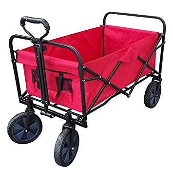 XL Foldable Collapsible Garden Trolley Cart Wagon Truck 4 Wheel Pull Along Wheelbarrow RED