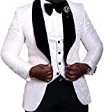 JYDress Mens Jacquard 3 Piece Suit Slim Fit Tuxedo Blazer Jacket Tux Vest & Trousers