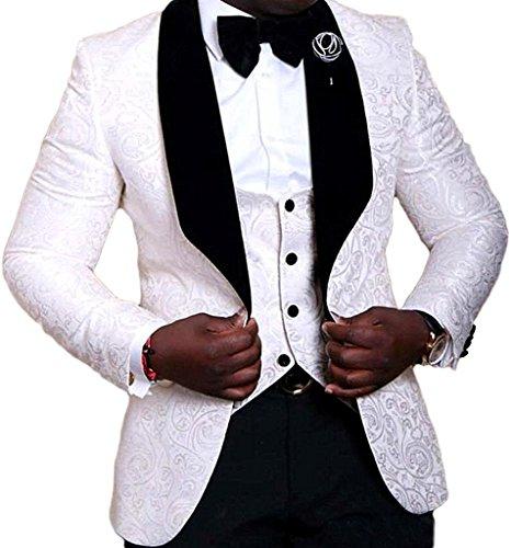 JYDress Mens Jacquard 3 Piece Suit Slim Fit Tuxedo Blazer Jacket Tux Vest & Trousers by JYDress