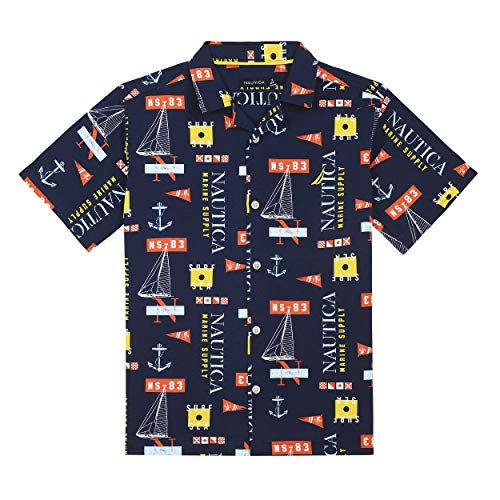 Nautica Big Boys' Short Sleeve Printed Woven Shirt, Maui Navy Medium (10/12)