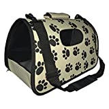 Pet Life Airline Approved Fashion Zippered Travel Designer Folding Collapsible Cage Pet Dog Carrier Paw Print...