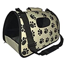 Pet Life Airline Approved Fashion Zippered Travel Designer Folding Collapsible Cage Pet Dog Carrier, Paw Print, Medium