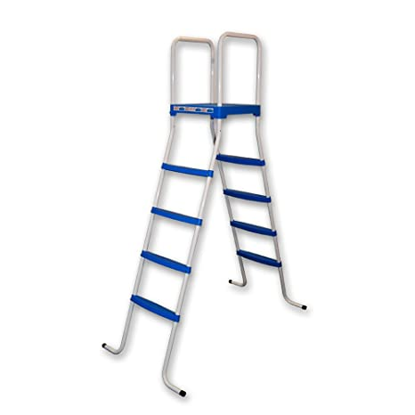 Piscinas Toi 4876 Escalera de 8 peldaños para Piscinas Desmontables Blanco 130x72x140 cm