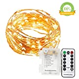 Waterproof Battery String Lights, 33 Ft, 132 LEDs, Flexible Copper Wire Battery Operated with Wireless Remote Control, Ultra Thin String Copper Wire for Wedding,Holiday,Parties,Shops (Warm White)