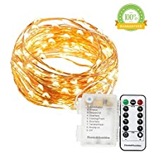 Waterproof Battery String Lights, 20 Ft, 120 LEDs, Flexible Copper Wire Battery Operated with Wireless Remote Control, Ultra Thin String Copper Wire for Wedding,Holiday,Parties,Shops (Warm White)