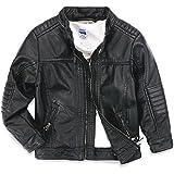 LJYH Boys leather jacket children's motorcycle leather zipper coat black 3-14T
