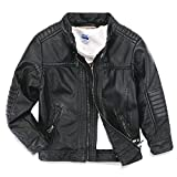 Image of LJYH Boys leather jacket children's motorcycle leather zipper coat black 3-14T  Black  T5-6