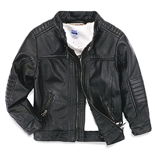 LJYH Boys leather jacket children's motorcycle leather zipper coat, Black (150/T11-12) (Jacket Kids)