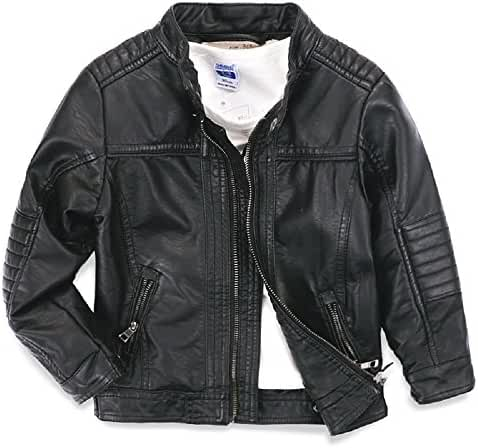 LJYH Boys leather jacket new spring children's collar motorcycle Faux leather zipper coat