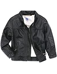 Boys Leather Jacket New Spring Children's Collar Motorcycle Faux Leather Zipper Coat