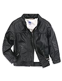 LJYH Boys leather jacket new spring children's collar motorcycle leather zipper coat