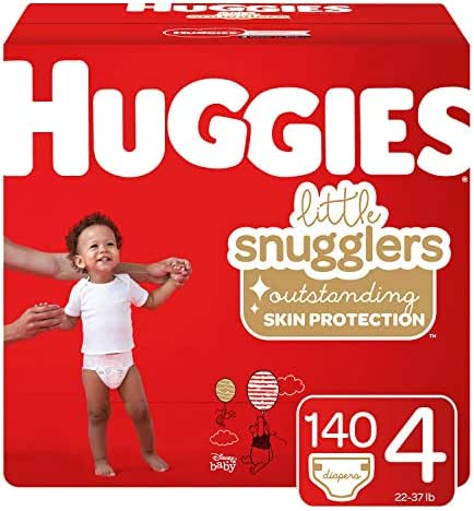 Huggies Little Snugglers Baby Diapers, Size 4 (up to 22-37 lb.), 140 Ct, Economy Plus Pack (Packaging May Vary)