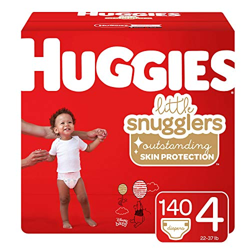 (Huggies Little Snugglers Baby Diapers, Size 4 (up to 22-37 lb.), 140 Ct, Economy Plus Pack (Packaging May Vary))
