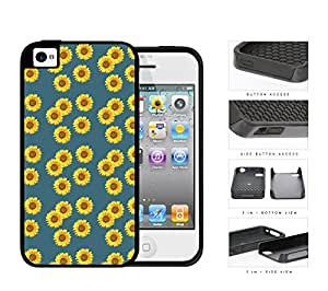 Bright Yellow Sunflower Pattern on Teal Background 2-Piece High Impact Dual Layer Black Silicone Cell Phone Case iPhone 4 4s