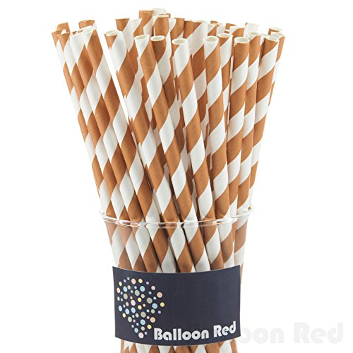 [Biodegradable Paper Drinking Straws (Premium Quality), Pack of 100, Striped - Brown Stiped] (Drinking Hats With Straws)