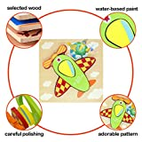 NVioToys Wooden Jigsaw Puzzle, 6PCS Preschool Early Educational Toys for Boys and Girls Match and Peg Puzzle Games Gift for Kids Toddlers