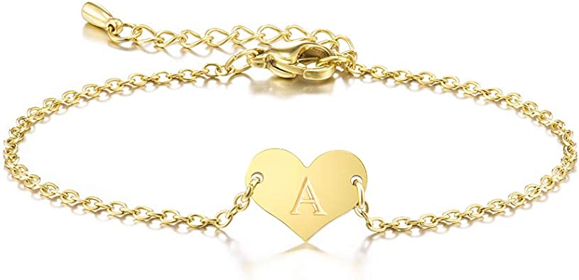 Childrens 14K Gold-plated Bracelet with Open Heart Charm for Girls