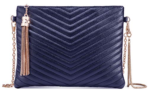 - Women Clutch Purse Crossbody Evening Bags with Faux Leather Chain Wristlet Strap (Navy Blue)