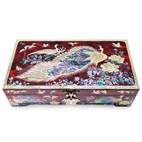 Hand Made Jewelry Box Mother of Pearl Sea Shell Inlaid Removable Ring Organizer Tray Mirror Lid Peacocks Design (Red)