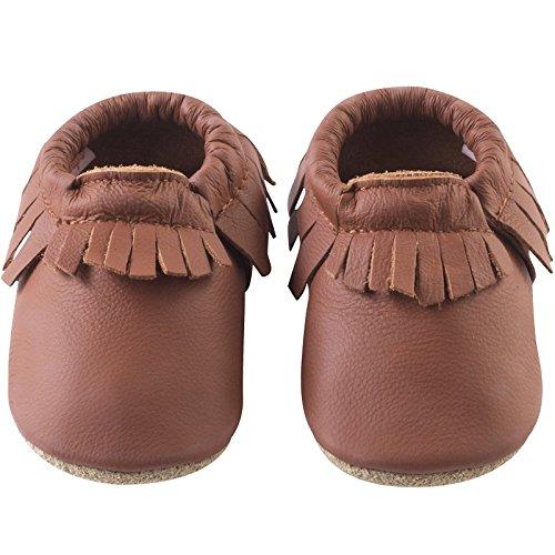 Tichoups chaussons cuir souple à franges noisette