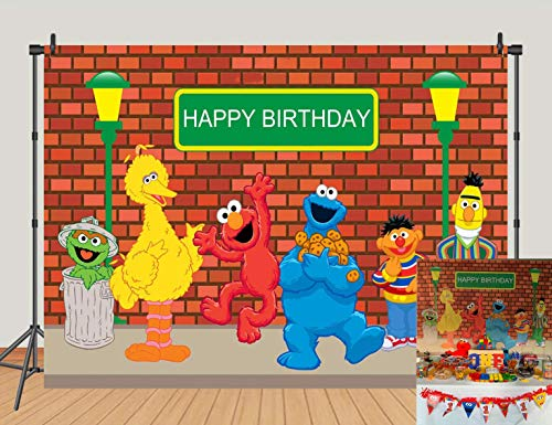 - MC 5x3ft Sesame Street Brick Wall Photography Backdrops Birthday Party Decoration Photo Booth Background Baby Shower Studio Props Vinyl