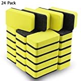 24 Pack of Magnetic Whiteboard Eraser,Bright Yellow Dry Erasers for Cleaning Dry Erase Pens and Markers off White Boards for Classroom,School,Office,Home and Kids,2 4/5 x 1 3/5 Inches