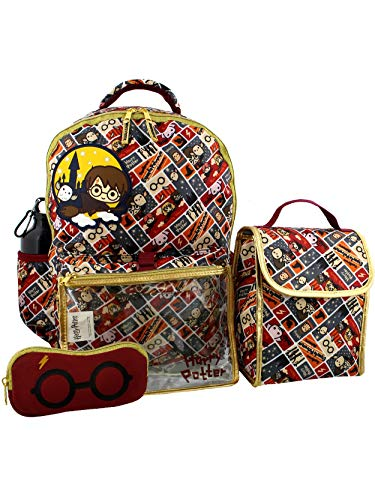Harry Potter Girls Boys Teen 5 piece Backpack and Snack Bag School -