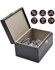 Todoxi Faraday Box Car Key Fob Protector RFID Box for Keys Large PU Leather RFID Signal Blocking Car Security Proection Box (Black)