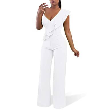 ab06a9d16093c Cosics White Jumpsuits, V-Neck One Piece Wide Leg Rompers for  Women(Size:8-10)