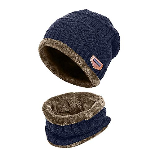 AYAMAYA Winter Beanie Hat Scarf Set Warm Knit Skull Cap for Boys Girls, 2-Pieces Thick Soft Stretch Skully Hat Chunky Slouchy Cable Cap with Fleece Liner for Skiing Snowboarding Cycling Running-Blue