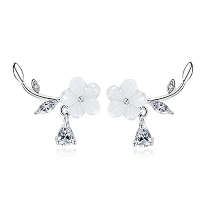 b6036a8e559e3 Image Unavailable. Image not available for. Color  OREOLLE 18k White Gold  Plated Plum Flower Earrings ...