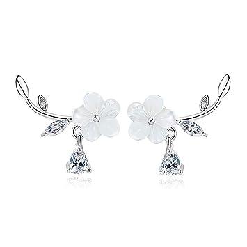 Amazon Oreolle 18k White Gold Plated Plum Flower Earrings