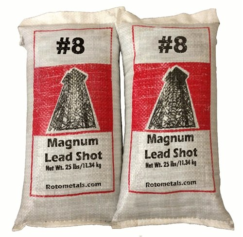 Magnum Lead Shot #8 50 Lbs 2-25 Pound Bags … by Roto Metals