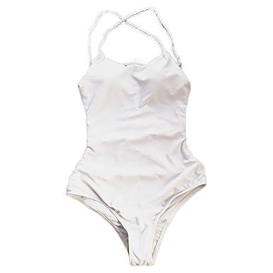 cab2efc127ed7 DAY8 Maillot De Bain Femme 1 Pieces Push Up Grande Taille Natation  Amincissant Vintage Bikini Bandeau