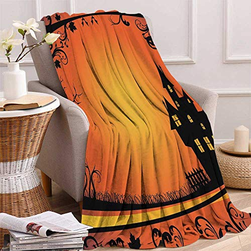 maisi Halloween Digital Printing Blanket Framework with Curvy Tree Branches Swirls Leaves Gothic Castle Festival Summer Quilt Comforter 62